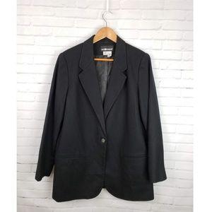Vintage 100% Wool Oversized Black Blazer